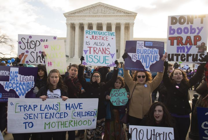Supporters of legal access to abortion rallied outside the Supreme Court in Washington, D.C., on March 2, 2016, as the Court