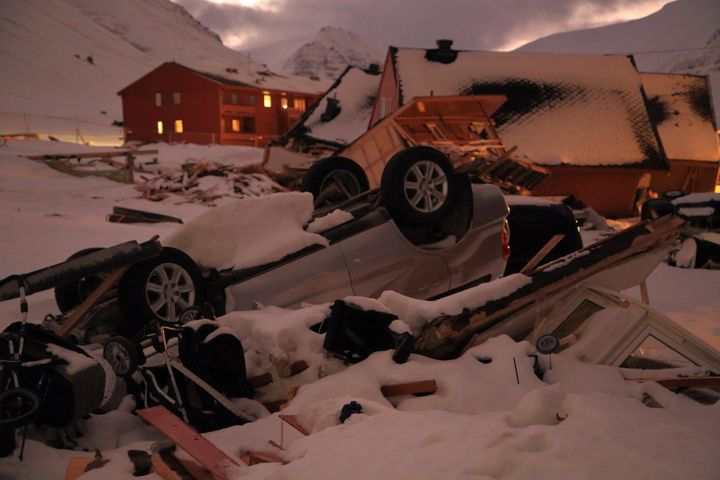 The scene after an avalanche hit several houses in Longyearbyen, Svalbard, in December 2015, killing two people.