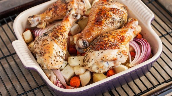 An 8x8 brownie pan is surprisingly ideal for cooking chicken drumsticks, since their elongated shape allows you to arrange th