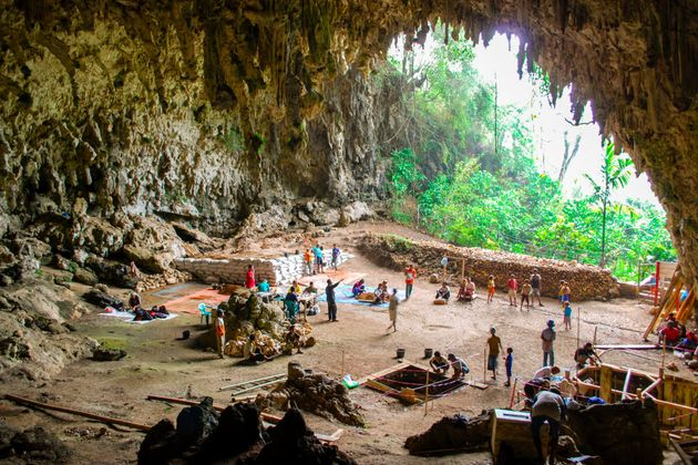 Looking remarkably like a Hollywood set design, this is the impressive Liang Bua cave in Flores...
