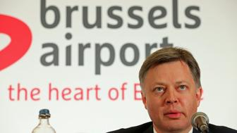 Brussels Airport Chief Executive Office CEO Arnaud Feist gives a press conference regarding the reopening of Brussels Airport, in Zaventem, on April 2, 2016. Arnaud Feist said Brussels airport will reopen on April 3 with three flights scheduled. Zaventem airport has been closed since its departure hall was wrecked in coordinated Islamic State suicide attacks on March 22 that also struck the city's metro system, killing 32 people. / AFP / Belga / NICOLAS MAETERLINCK / Belgium OUT        (Photo credit should read NICOLAS MAETERLINCK/AFP/Getty Images)