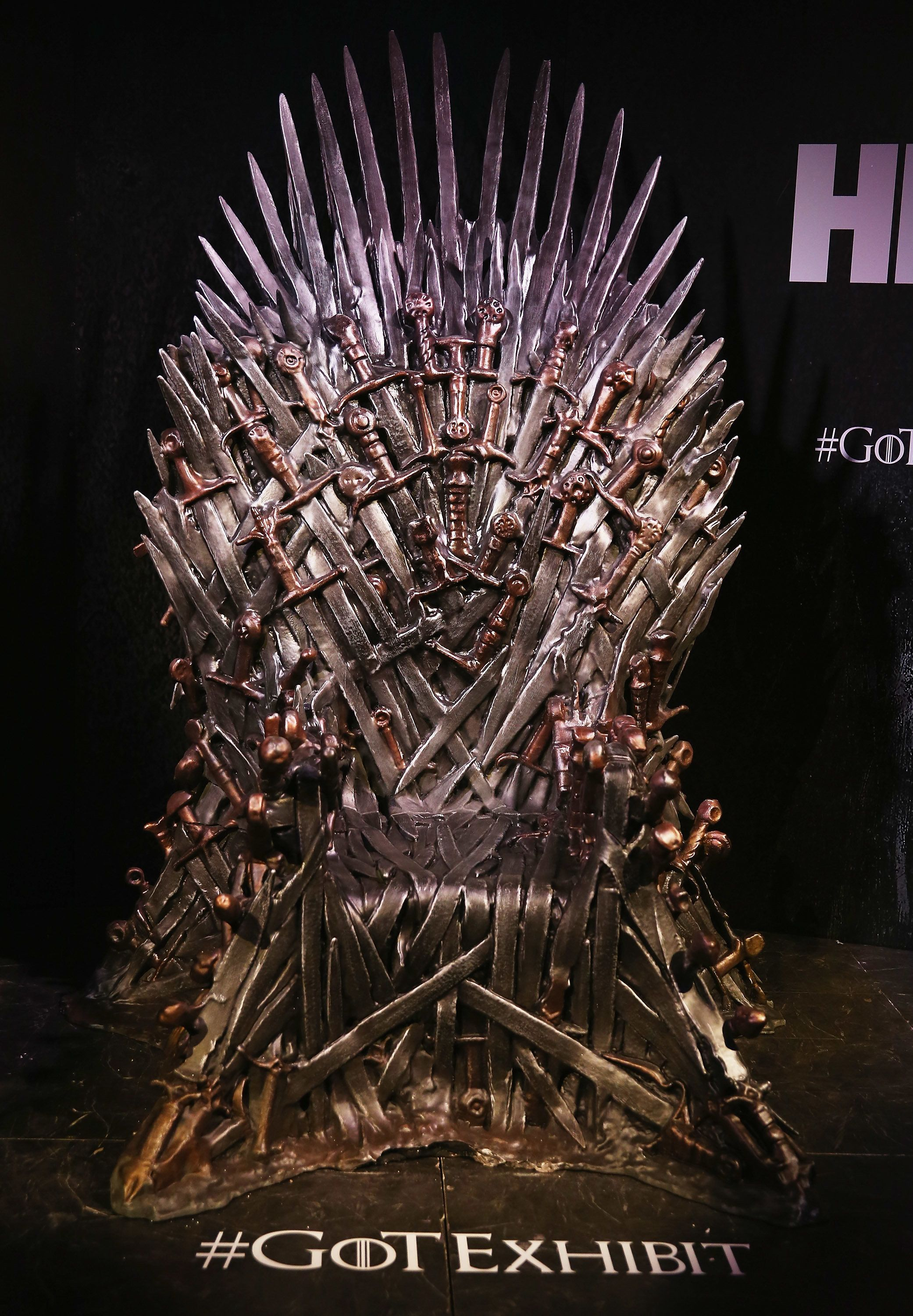 SYDNEY, AUSTRALIA - JUNE 30:  Aview of the Iron Throne, made from the swords of the slaughtered kings, is seen at the launch of the Game Of Thrones Exhibition at Museum of Contemporary Art on June 30, 2014 in Sydney, Australia.  (Photo by Don Arnold/WireImage)
