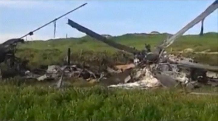 The wreckage of an Azeri Mi-24 helicopter which was downed during clashes with Armenian forces in Nagorno-Karabakh region, wh