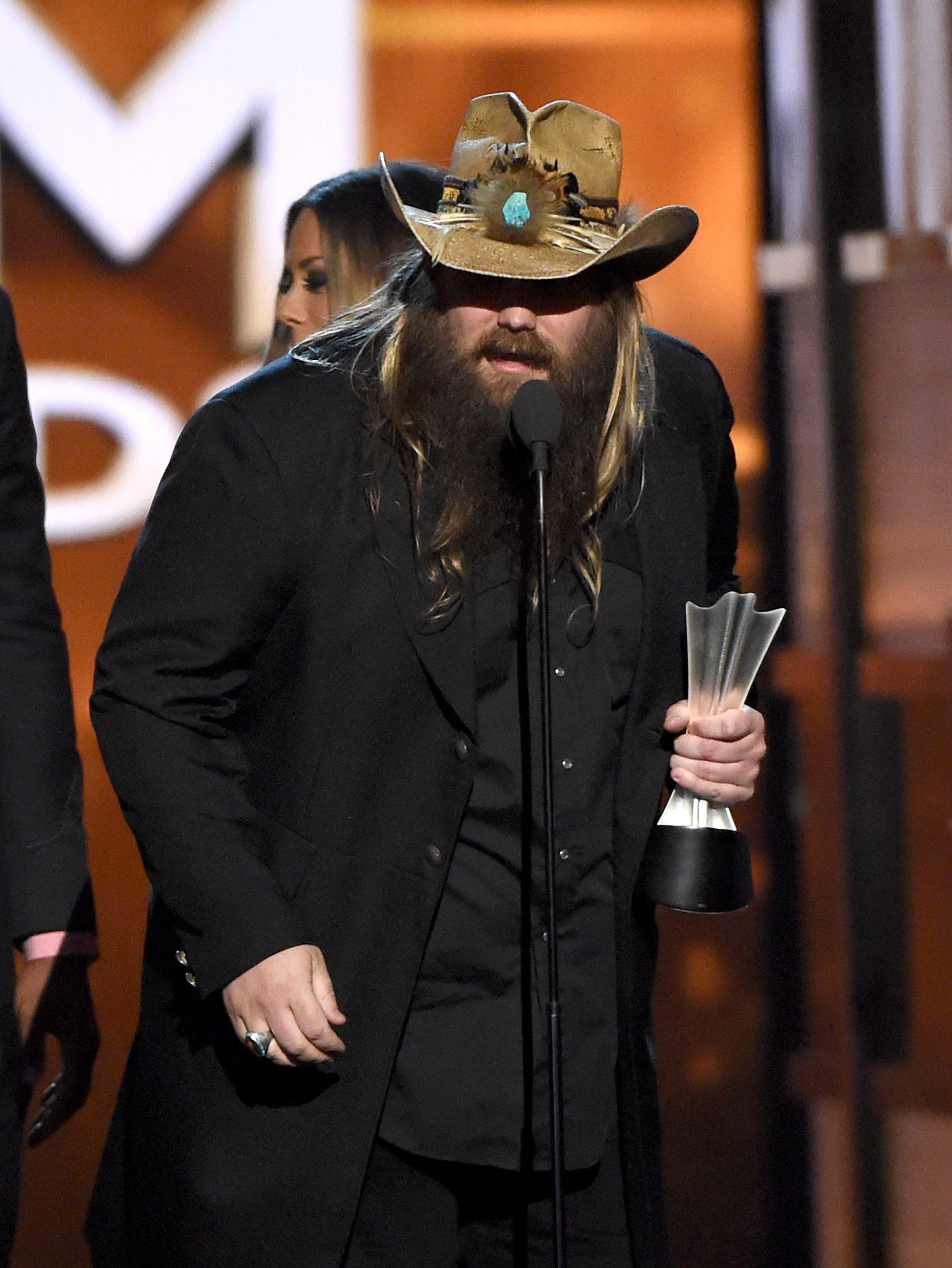 LAS VEGAS, NEVADA - APRIL 03:  Recording artist Chris Stapleton accepts the Song of the Year award for 'Nobody to Blame' onstage during the 51st Academy of Country Music Awards at MGM Grand Garden Arena on April 3, 2016 in Las Vegas, Nevada.  (Photo by Ethan Miller/Getty Images)