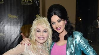 LAS VEGAS, NEVADA - APRIL 03:  Recording artists Dolly Parton (L) and Katy Perry attend the 51st Academy of Country Music Awards at MGM Grand Garden Arena on April 3, 2016 in Las Vegas, Nevada.  (Photo by John Shearer/ACM2016/Getty Images for dcp)
