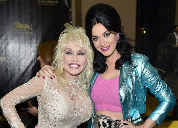 Recording artists Dolly Parton (L) and Katy Perry attend the 51st Academy of Country Music Awards at MGM Grand Garden Arena o