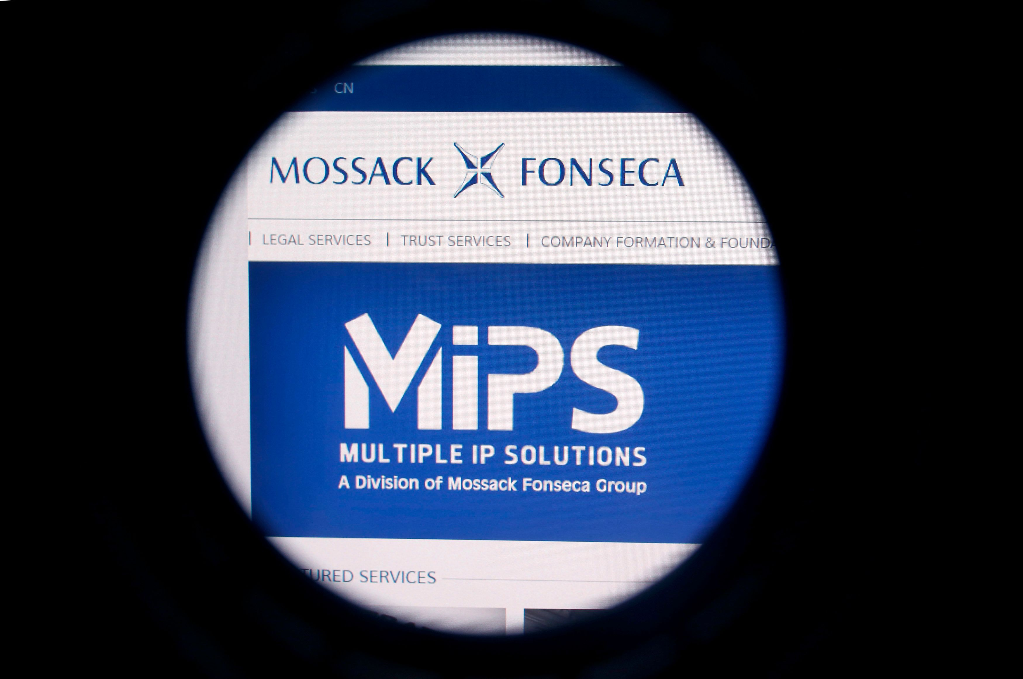 The website of the Mossack Fonseca law firm is pictured through a large format lens in Bad Honnef, Germany April 4, 2016.  REUTERS/Wolfgang Rattay