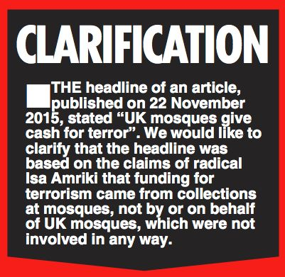 Daily Star On Sunday Forced To Correct Claims Mosques 'Fundraised For