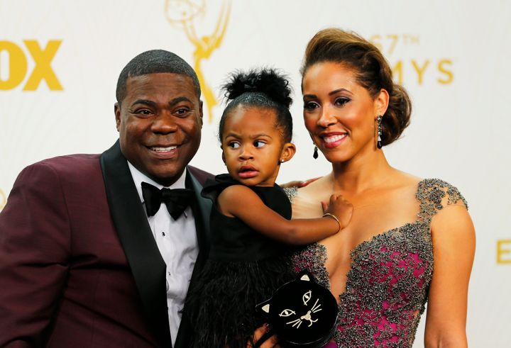 Tracy Morgan and wife, Megan Wollover, pose backstage with their daughter, Maven,at the Primetime Emmy Awards in Los An