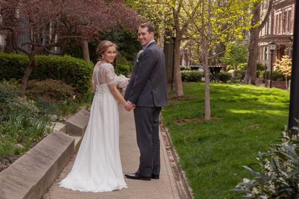 """""""Tristan and Emily were married in Historic Old Louisville, Kentucky on April 2. We stopped quickly at Belgravia Court"""