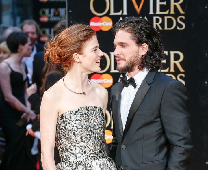 Rose Leslie and Kit Harington attend The Olivier Awards with Mastercard at The Royal Opera House on April 3, 2016 in London,