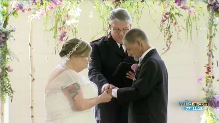 Evelyn Adams and Rocky Barlet, both 55, were married on Friday thanks to the generosity of their community.