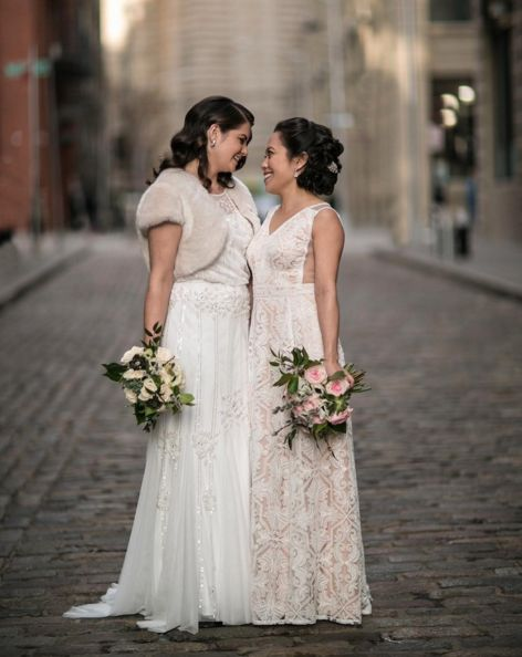 """""""We were on OKCupid. Neither of us wanted anything serious. We see how that turned out."""" - <i>bridesLauren andKat"""