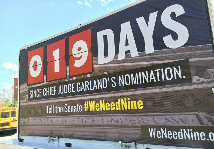 The billboard truck will display the number of days since Obama nominated Garland.
