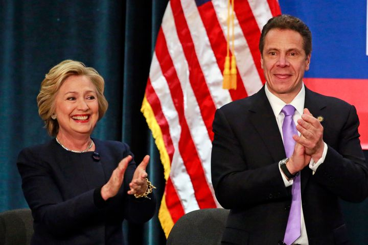 U.S. Democratic presidential candidate Hillary Clinton and New York Gov. Andrew Cuomo at a rally to celebrate the state