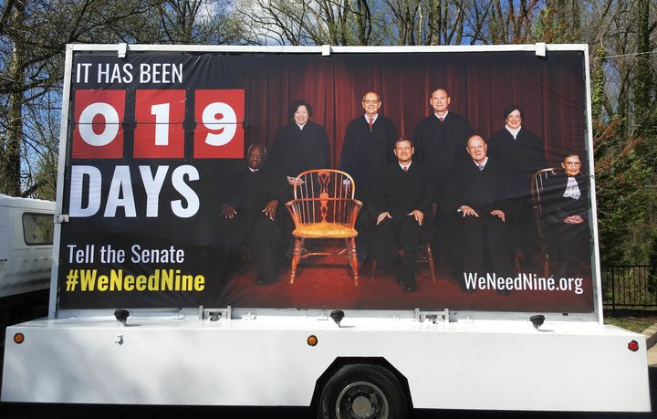 The billboard truck will drive by the Supreme Court Tuesday morning.