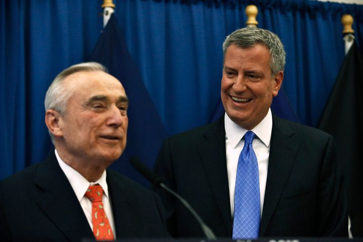 New York City Police Commissioner Bill Bratton (left) and Mayor Bill de Blasio have increased the focus of the city's po