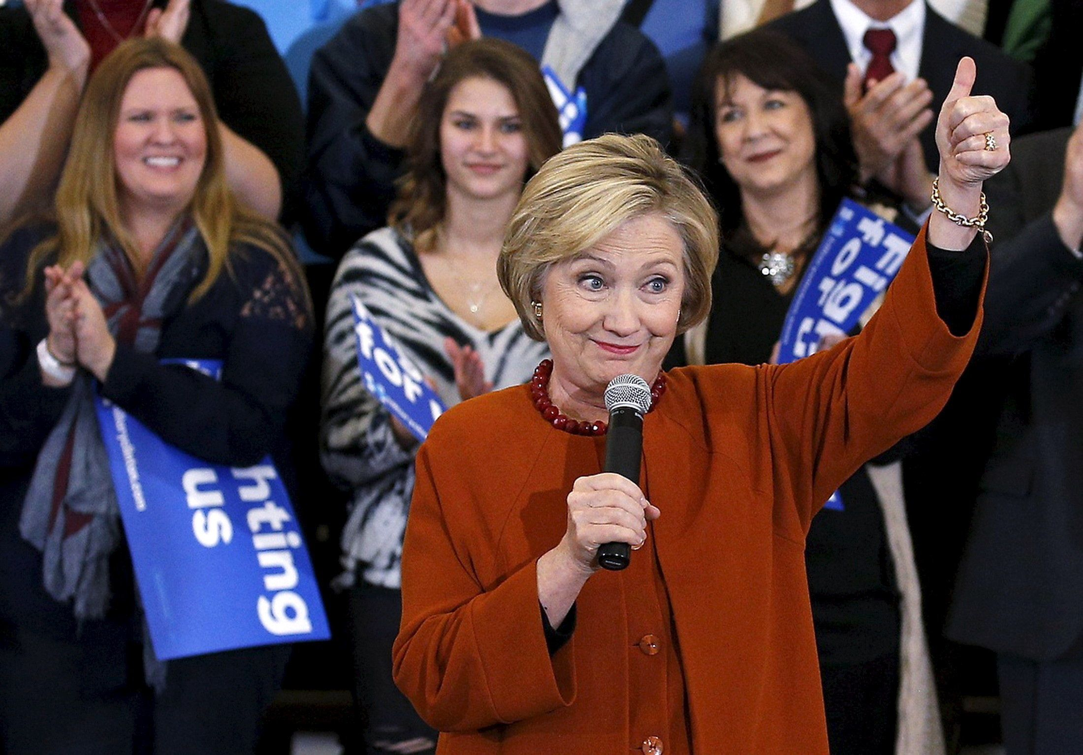 U.S. Democratic presidential candidate Hillary Clinton reacts as she waves to supporters at a campaign rally in Eau Claire, Wisconsin, April 2, 2016. REUTERS/Adam Bettcher