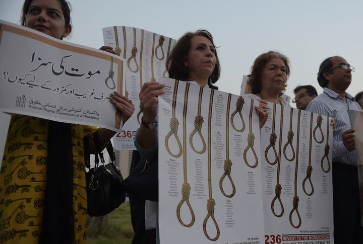 Activists from the Human Rights Commission of Pakistan mark International Day Against the Death Penalty in Islamabad on Oct.