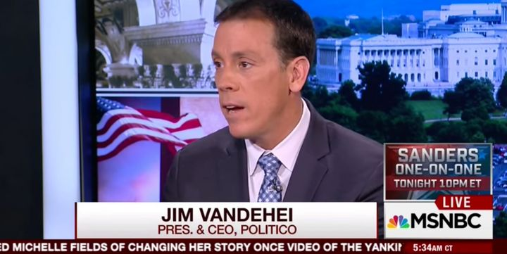 "Jim VandeHei made one of his last appearances as Politico president last week on MSNBC's ""Morning Joe."""