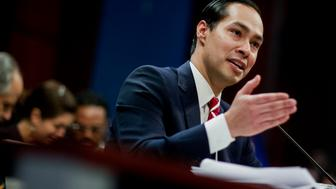 Julian Castro, secretary of U.S. Housing and Urban Development (HUD), speaks during a House Financial Services Committee hearing in Washington, D.C., U.S., on Wednesday, Feb. 11, 2015. The hearing was entitled 'The Future of Housing in America; Oversight of the Federal Housing Administration.' Photographer: Andrew Harrer/Bloomberg via Getty Images