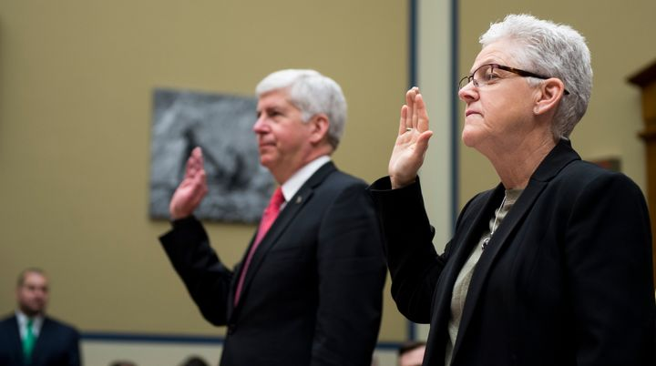 Michigan Gov. Rick Snyder and EPA head Gina McCarthy testify during aHouse Oversight and Government Reform Committee he