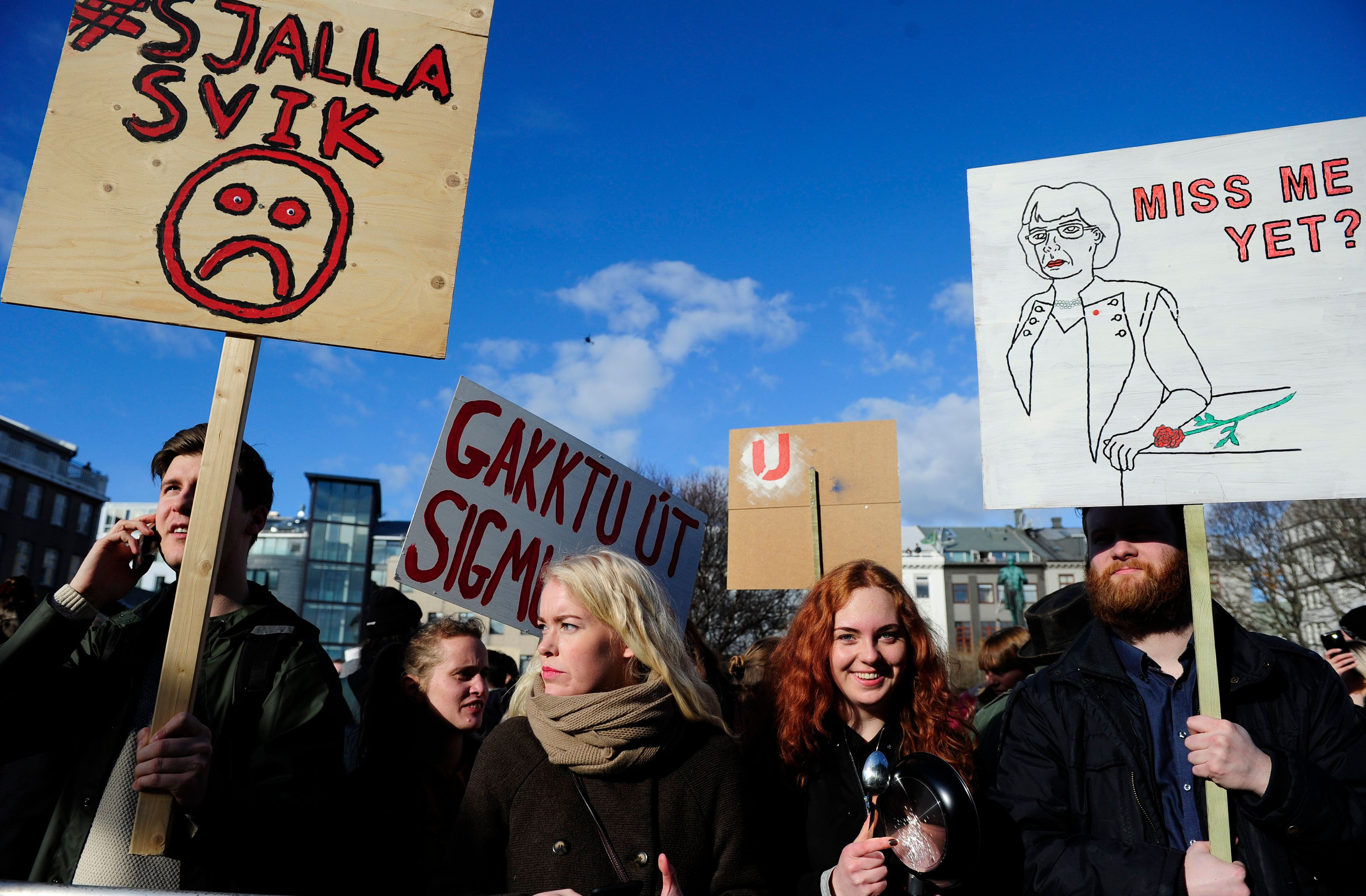 People demonstrate against Iceland's Prime Minister Sigmundur Gunnlaugsson in Reykjavik, Iceland on April 4, 2016 after a lea