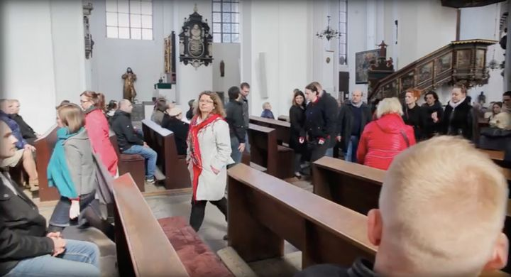 Dozens of people walked out of a Catholic Church service in Poland on Sunday as the priest read out a letter that called