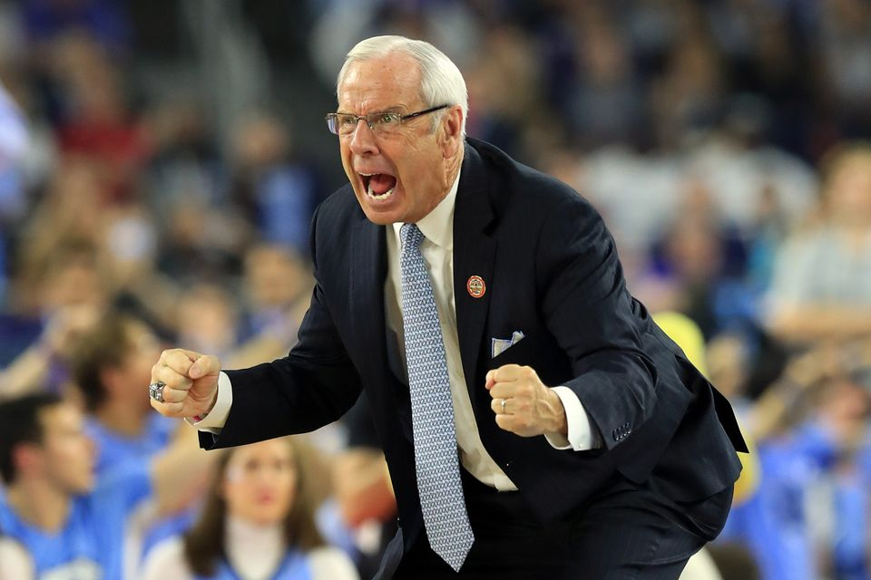 HOUSTON, TEXAS - APRIL 04:  Head coach Roy Williams of the North Carolina Tar Heels reacts in the second half against the Vil