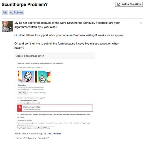 Facebook Has A Problem With Scunthorpe And People Are Up In