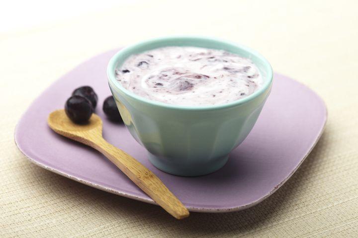 Greek yoghurt and blueberries.