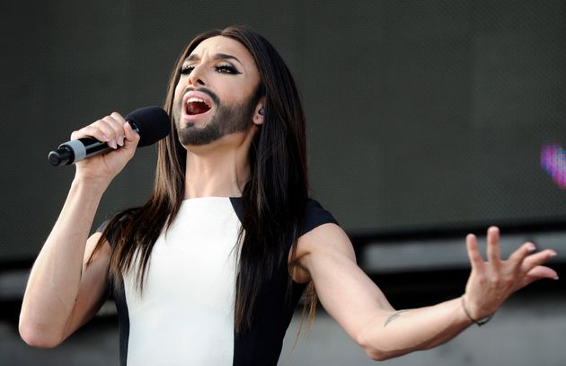 Austrian singer and Eurovision Song Contest winner Conchita Wurst performing in