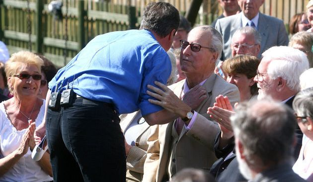 David Cameron greetinghis father Ian during the general election