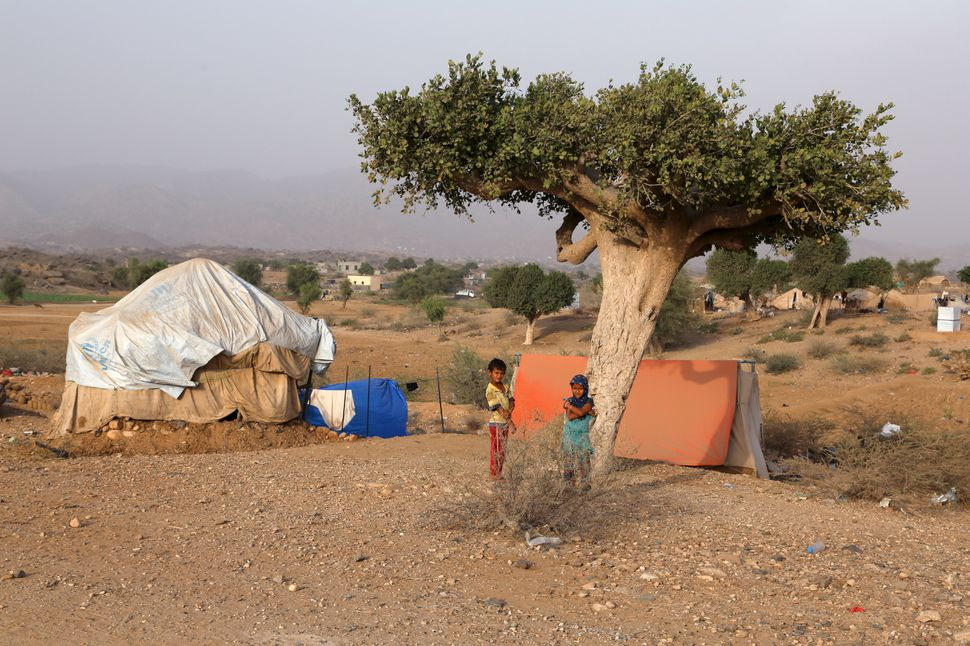 Many of the people who live in the camp were forced to leave their villages in neighboring Saada province.