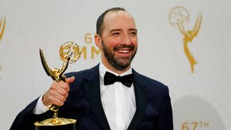"""Actor Tony Hale holds the award for Outstanding Supporting Actor In A Comedy Series for the HBO series """"Veep"""" backstage during the 67th Primetime Emmy Awards in Los Angeles, California September 20, 2015.  REUTERS/Mike Blake"""