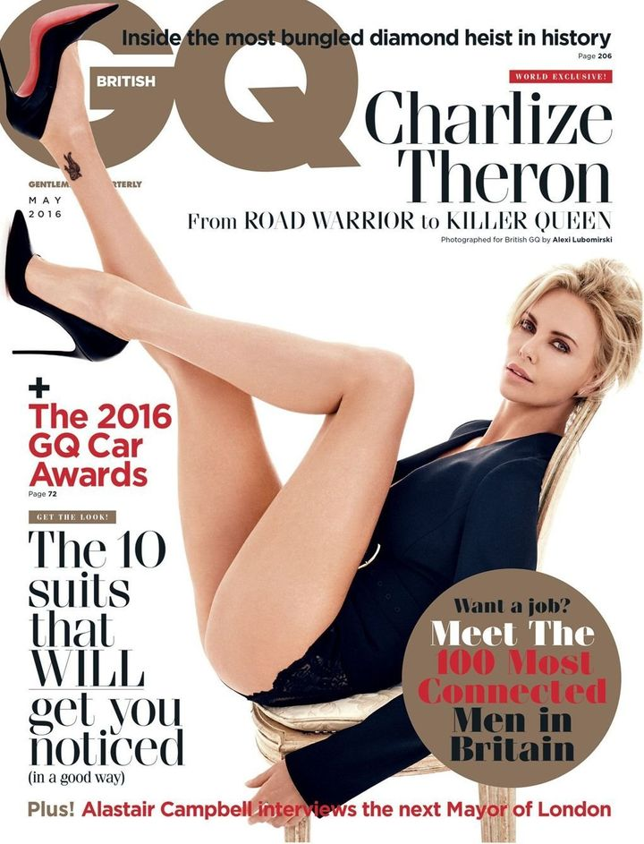 Charlize Theron on the latest cover of British GQ.