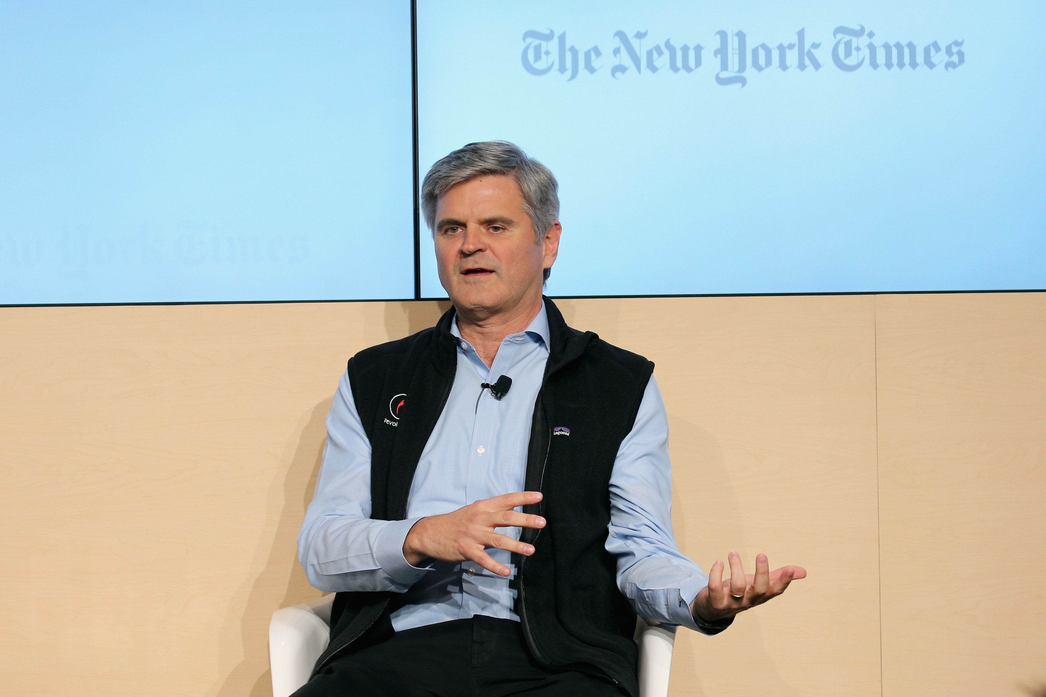 POCANTICO HILLS, NY - OCTOBER 21:  Stephanie Strom, business reporter, The New York Times speaks onstage with Steve Case, chairman and C.E.O., Revolution, and co-founder America Online at The New York Times Food For Tomorrow Conference 2015 at Stone Barns Center for Food & Agriculture on October 21, 2015 in Pocantico Hills City.  (Photo by Neilson Barnard/Getty Images for the New York Times)