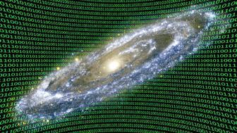 Holographic universe, conceptual composite image.