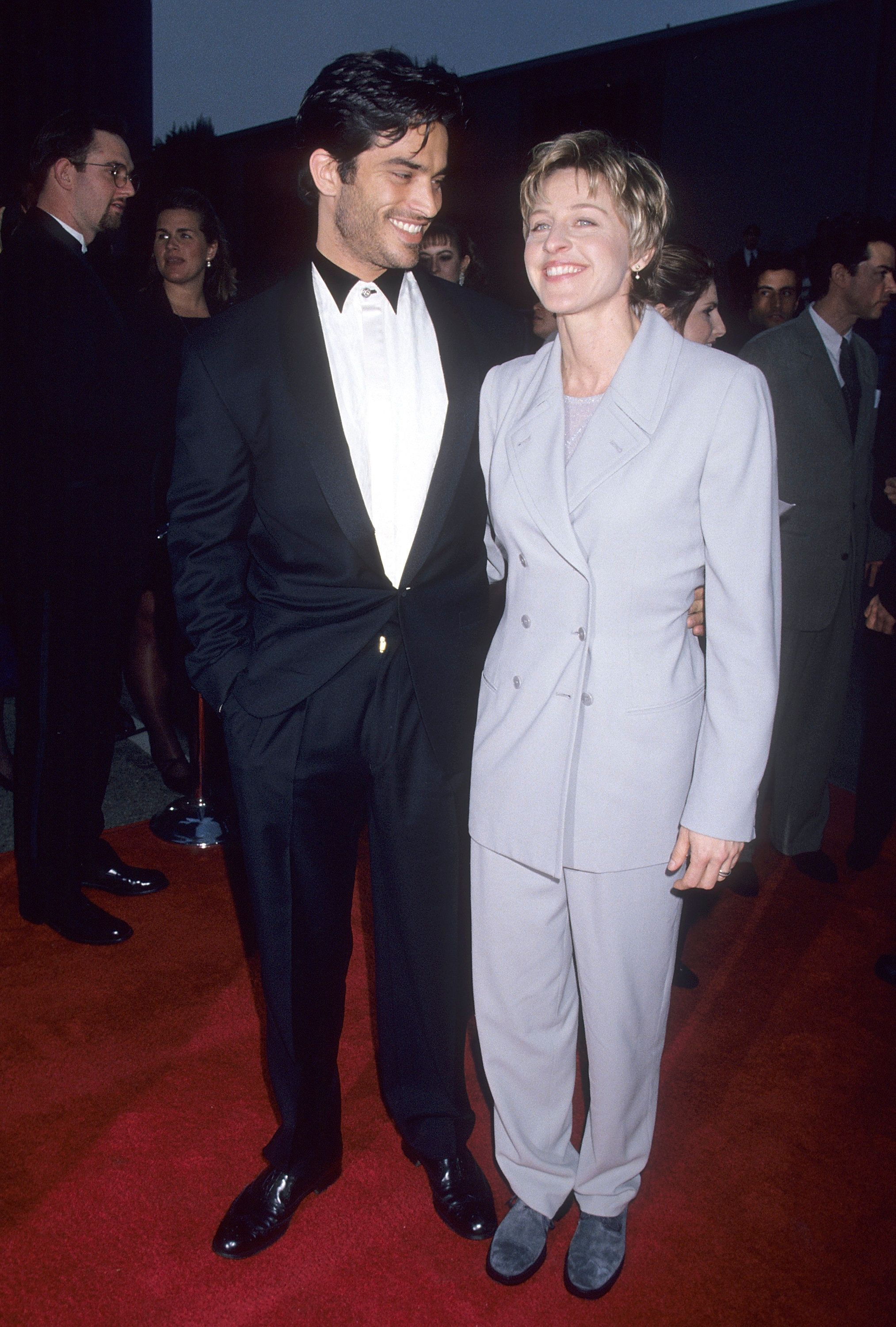 UNIVERSAL CITY, CA - FEBRUARY 25:   Actor Johnathon Schaech and comedienne Ellen DeGeneres attend the First Annual Screen Actors Guild Awards on February 25, 1995 at Sound Stage 12, Universal Studios in Universal City, California. (Photo by Ron Galella, Ltd./WireImage)