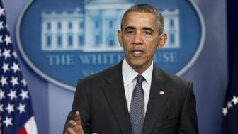 US President Barack Obama speaks about the economy and corporate tax inversions in the Brady Press Briefing Room of the White House in Washington, DC, April 5, 2016. Obama said April 5 that the revelations that powerful international politicians and businessmen have hidden money in shell companies shows tax avoidance is a global issue. 'Tax avoidance is a big global problem,' he said, after documents leaked from a Panama law firm showed tens of thousands of anonymous companies could have been used to hide income.  / AFP / SAUL LOEB        (Photo credit should read SAUL LOEB/AFP/Getty Images)