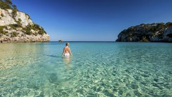 Spain, Menorca, Mature woman in sea