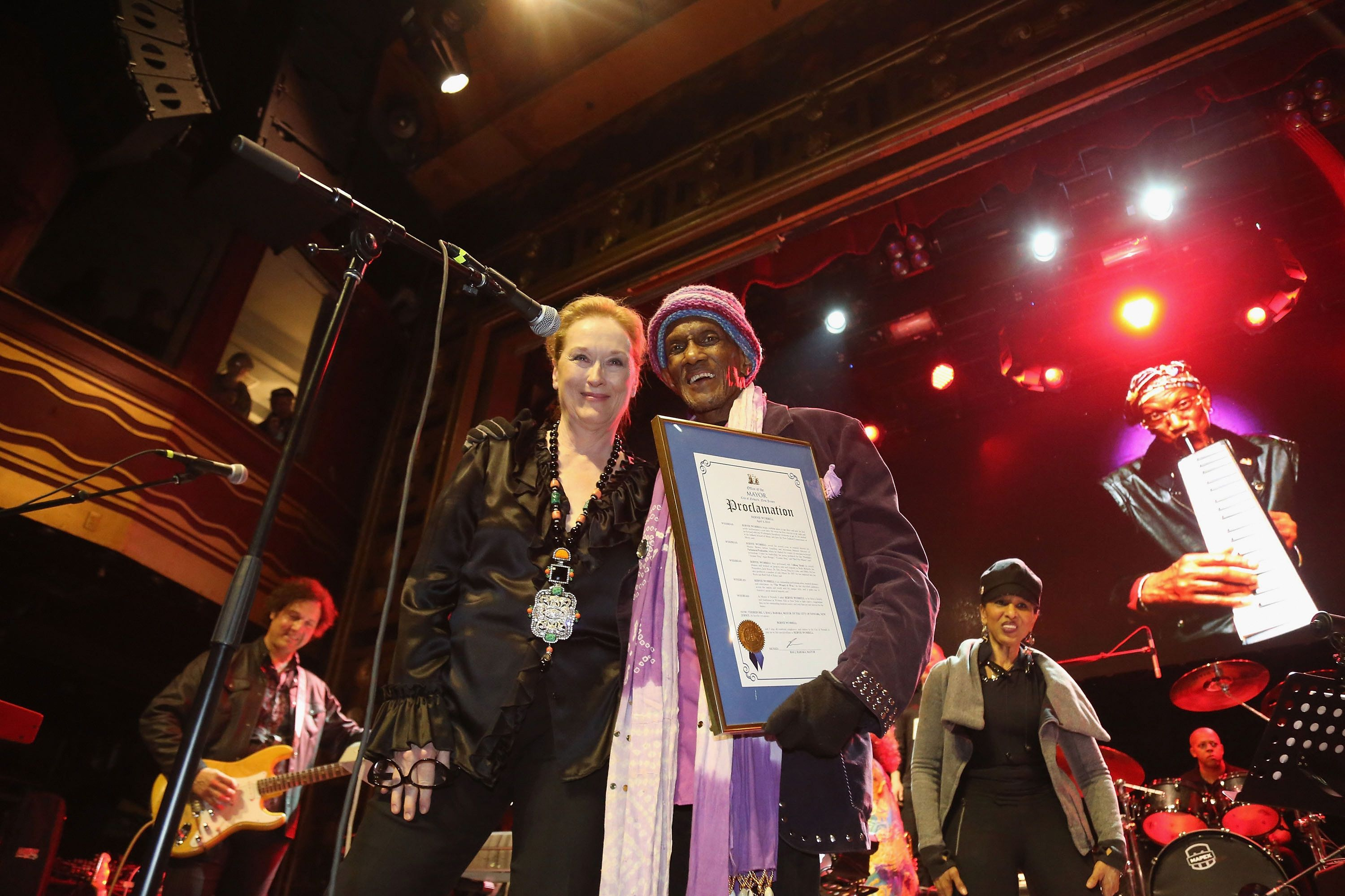 NEW YORK, NEW YORK - APRIL 04:  Meryl Streep helps Bernie Worrell celebrate having a day named after him in Newark at the Black Rock Coalition Presents: All The Woo In The World--An All-Star Celebration benefit concert for Bernie Worrell event at Webster Hall on April 4, 2016 in New York City.  (Photo by Al Pereira/WireImage)