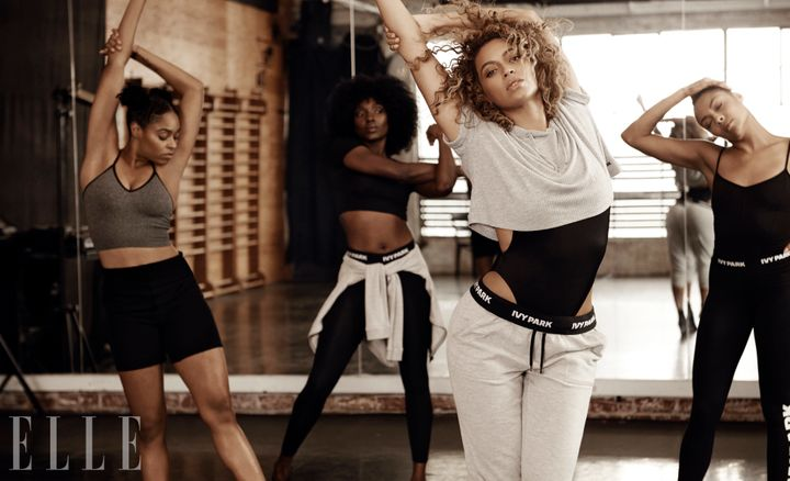 Bey modeling her new activewear line Ivy Park in ELLE's May issue.