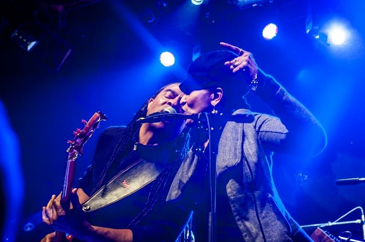 71-year-old Nona Hendryx, right, performs at Webster Hall on April 4, 2016.
