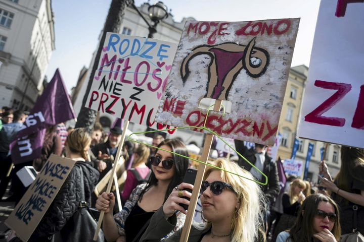 Thousands of people protested across Poland after news broke about a possible full ban on abortions. People held banners read