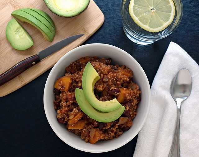 "Get the <a href=""http://thesimpleveganista.blogspot.com/2013/03/sweet-potato-quinoa-chili.html"" target=""_blank"" data-beacon=""{""p"":{""mnid"":""entry_text"",""lnid"":""citation"",""mpid"":4}}"">Sweet Potato And Quinoa Chili recipe</a> from The Simple Veganista."