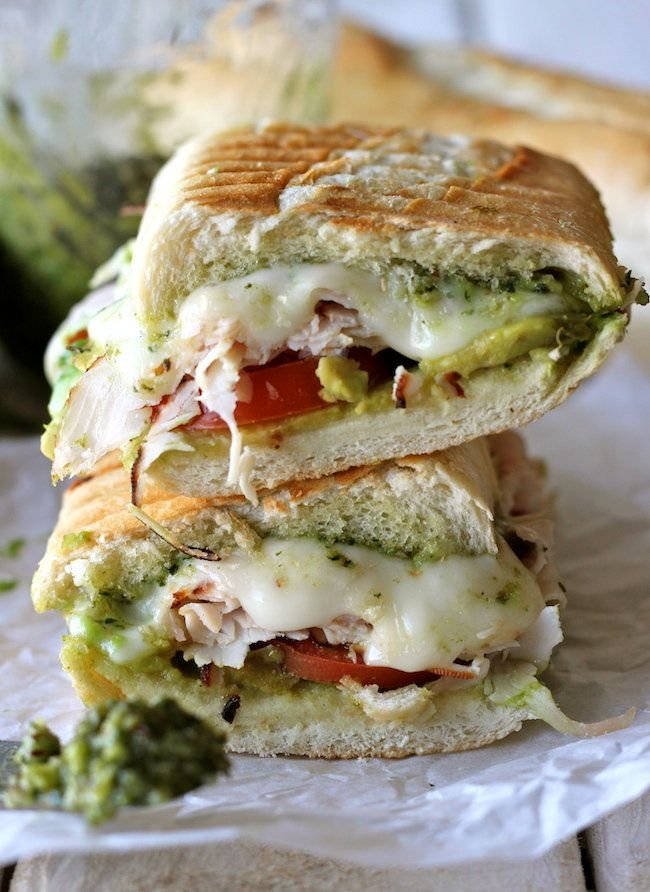 "Get the <a href=""http://damndelicious.net/2012/11/21/leftover-thanksgiving-turkey-pesto-panini/"" target=""_blank"" data-beacon=""{""p"":{""mnid"":""entry_text"",""lnid"":""citation"",""mpid"":0}}"">Turkey Pesto Panini recipe</a> from Damn Delicious."