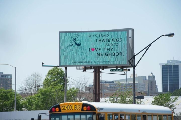 The billboard sits not far from the capital building in Jackson.