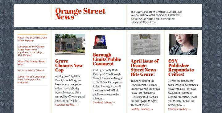 "The <a href=""http://orangestreetnews.com/"" target=""_blank"">Orange Street News homepage.</a>"