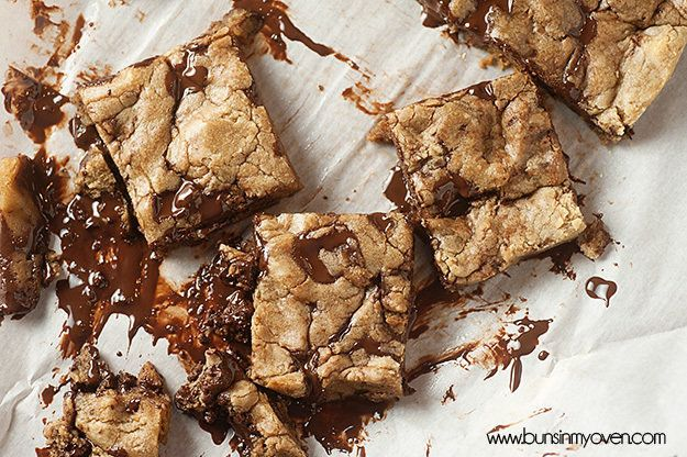 "Get the <a href=""http://www.bunsinmyoven.com/2014/02/24/dark-chocolate-browned-butter-chocolate-chip-cookie-bars/"" target=""_blank"" data-beacon=""{""p"":{""mnid"":""entry_text"",""lnid"":""citation"",""mpid"":8}}"">Dark Chocolate Browned Butter Chocolate Chip Cookie Bars recipe</a> from Buns In My Oven."